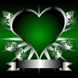 Silver and Green Hearts Background — Stock Vector