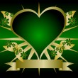 Stock Vector: Gold and Green Hearts Background