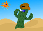 A cartoon cactus wearing a cowboy hat — Stock Vector