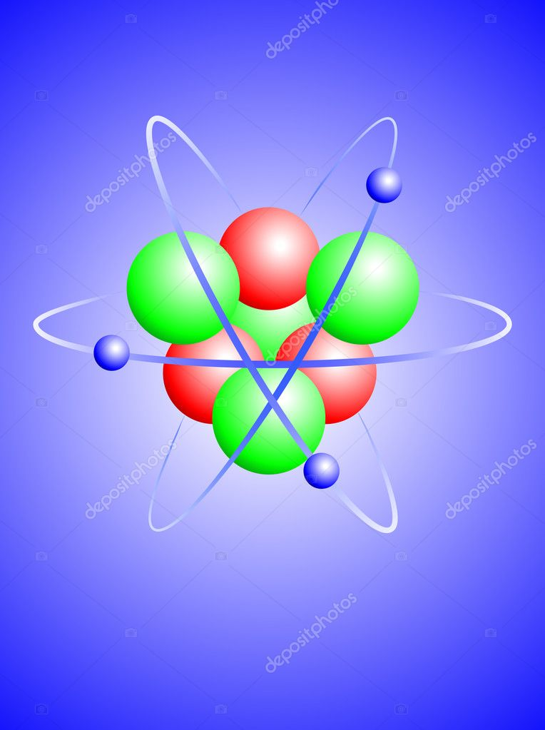 A vector illustration of a lithium atom with a nucleus of four neutrons and three protons with three orbiting electrons — Stock Vector #5248597