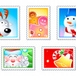 Christmas stamps — Vector de stock