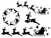 Santa sleigh ornament — Stock Vector