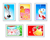 Christmas stamps — Stock Vector