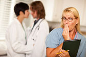 Alarmed Medical Woman Witnesses Colleagues Inner Office Romance — Foto Stock