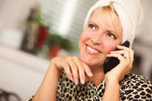 Attractive Caucasian Woman Talking on Cell Phone — Stock Photo