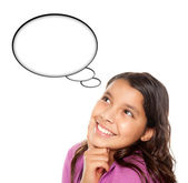 Hispanic Teen Aged Girl with Blank Thought Bubble — Stock Photo