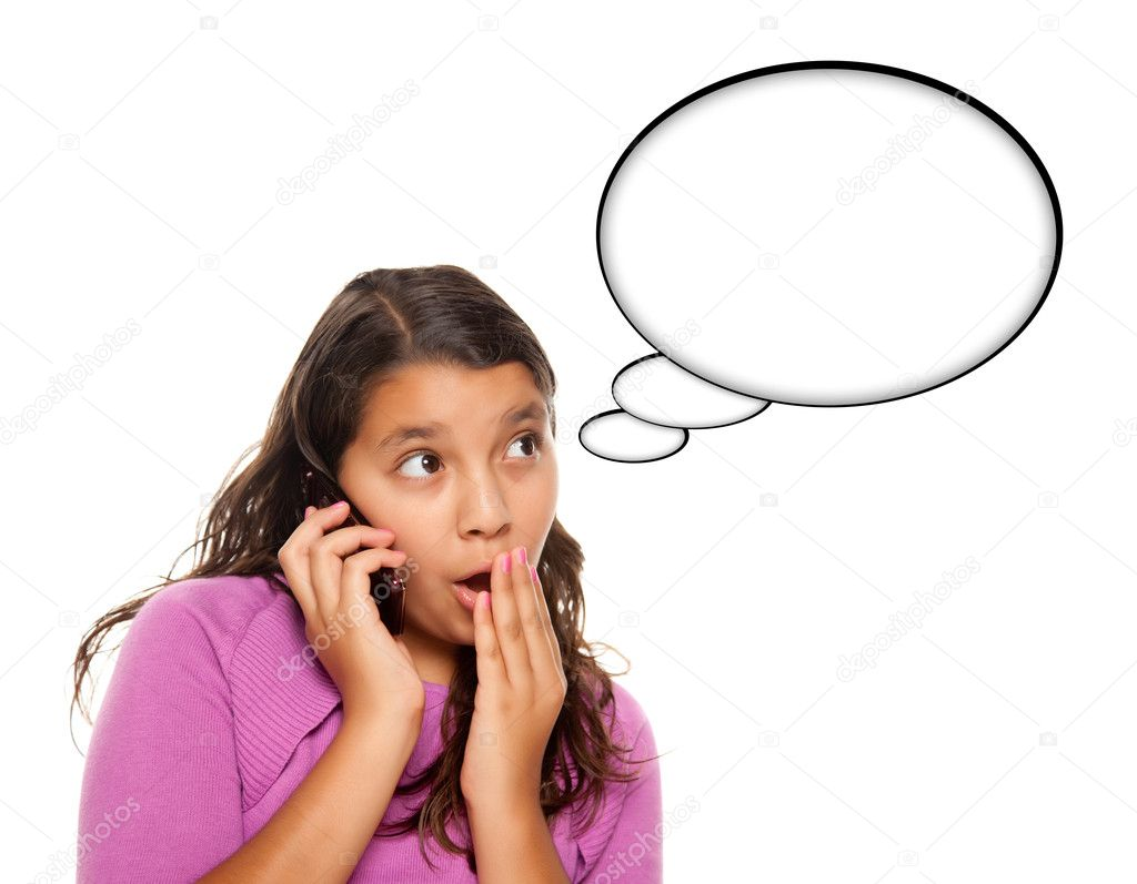 Shocked Hispanic Teen Aged Girl on Cell Phone with Blank Thought Bubble Isolated on a White Background - Contains Clipping Paths. — Stock Photo #4009829