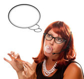 Red Haired Retro Receptionist with Blank Thought Bubble — Stock Photo