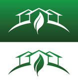 Green House Concept Icons Both Solid and Reversed — Vettoriale Stock