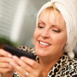 Attractive Woman Texting With Her Cell Phone — Stock Photo