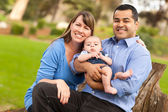 Happy Mixed Race Family Posing for A Portrait — Stock Photo