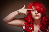 Attractive Young Red Haired Woman with Hand To Her Head — Stock Photo
