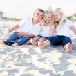 Adorable Sisters and Brother Having Fun at the Beach — Stock Photo