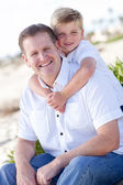 Cute Son with His Handsome Dad Portrait — Стоковое фото