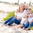 Attractive Mom and Her Cute Children at The Beach — Foto Stock