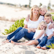 Attractive Mom and Her Cute Children at The Beach — Stok fotoğraf