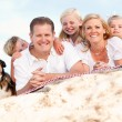 Happy Caucasian Family and Dog Portrait at the Beach — Stok fotoğraf