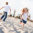 Adorable Brother and Sister Having Fun at the Beach — Stock Photo