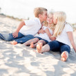 Adorable Sibling Children Kissing the Youngest — Stock Photo