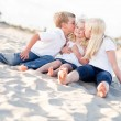 Adorable Sibling Children Kissing the Youngest — Стоковое фото