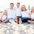 Happy Caucasian Family Portrait at the Beach — Stockfoto