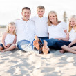 Happy Caucasian Family Portrait at the Beach — ストック写真