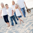 Adorable Little Girl Leads Her Family on a Walk — Stock Photo