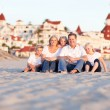 Happy Caucasian Family in Front of Hotel Del Coronado — Stock Photo #4280966