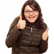 Excited Young Caucasian Woman With Thumbs Up — Stock Photo #4288721