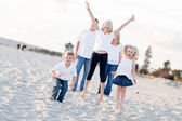 Happy Sibling Children Jumping for Joy — Stock Photo