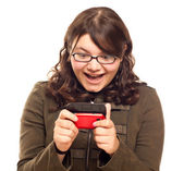 Excited Young Caucasian Woman Texting on Her Mobile Phone — Stock Photo