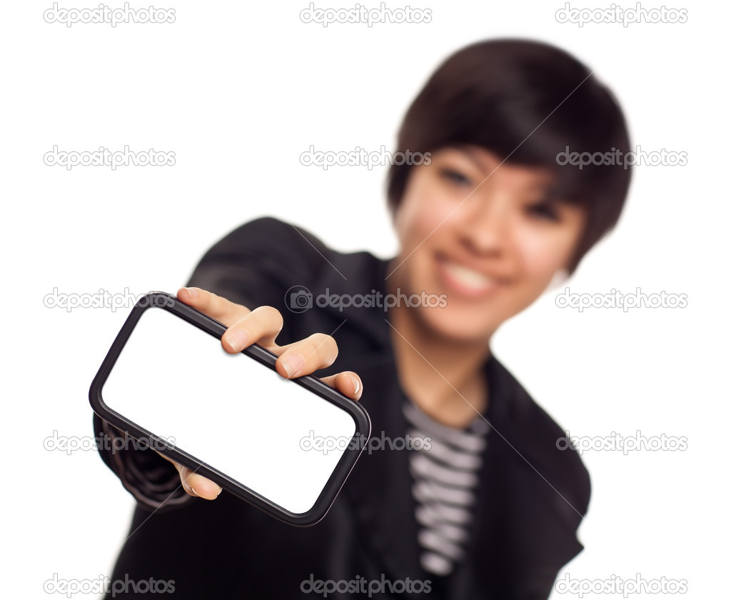 Smiling Young Mixed Race Woman Holding Blank Smart Phone Out - Focus is On the Phone Ready for Your Own Message.  Stock Photo #4288735