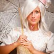 Pretty White Haired Woman with Parasol and Classic Dress — Stock Photo
