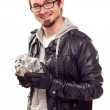 Warmly Dressed Handsome Young Man with Gift — Stock Photo