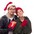 Warm Attractive Young Couple with Holiday Gift — Stock Photo