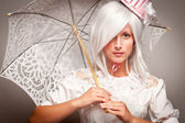 Pretty White Haired Woman with Parasol — Stock Photo