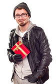 Warmly Dressed Handsome Young Adult Holding Gift — Stock Photo