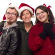 Three Friends Wearing Warm Holiday Attire — Stock Photo