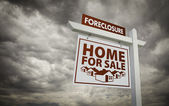 White Foreclosure Home For Sale Real Estate Sign Over Cloudy Sky — Stock Photo
