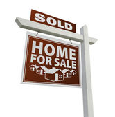 Red Sold Home for Sale Real Estate Sign on White — Stock Photo