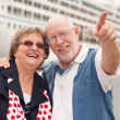 Senior Couple On Shore in Front of Cruise Ship — Stock Photo #4714876