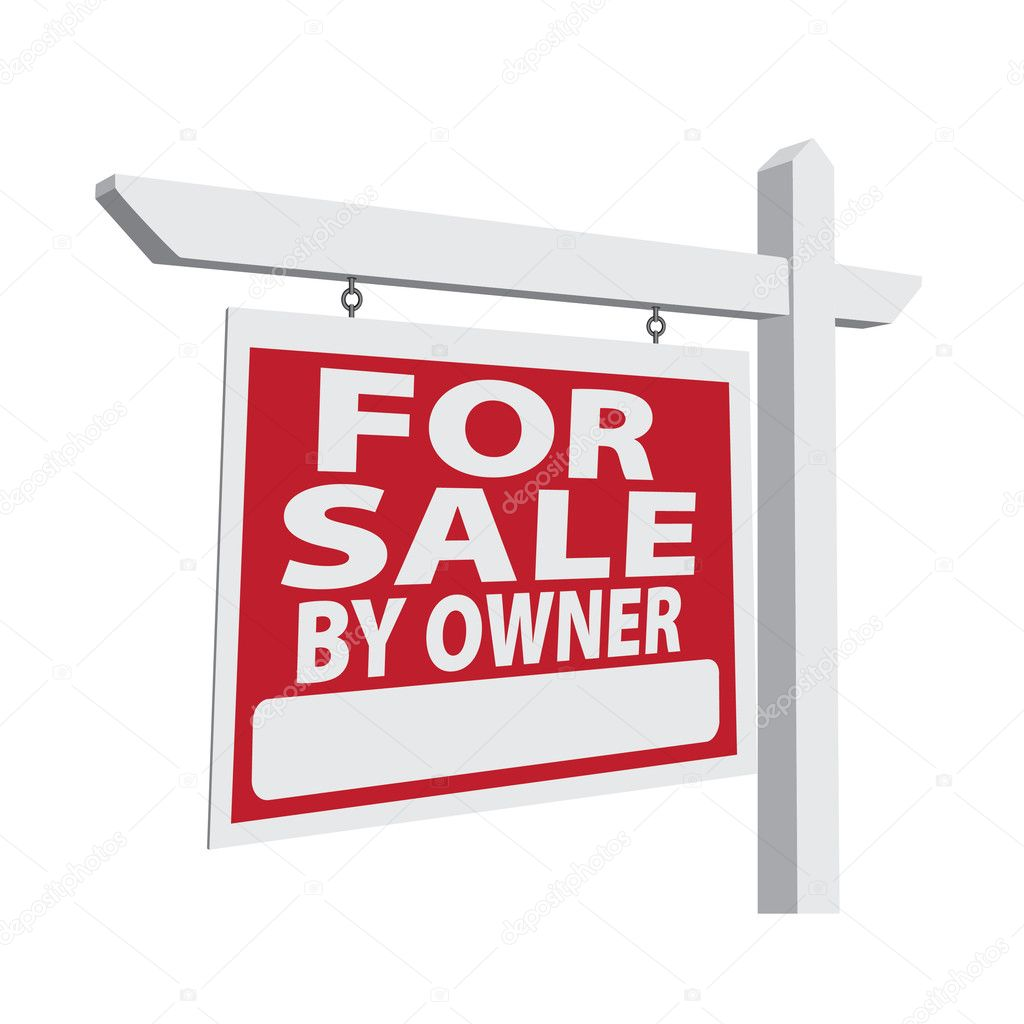 for sale by owner vector real estate sign stock vector