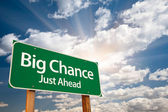 Big Chance Green Road Sign and Clouds — Stock Photo