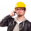 Handsome Young Man in Hard Hat on Phone — Stock Photo