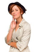 Attractive Red Haired Girl Wearing a Trenchcoat and Hat — Stock Photo
