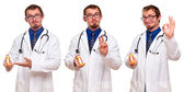 Set of Three Male Doctors with Prescription Bottle — Stock Photo