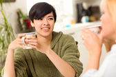 Multi-ethnic Young Attractive Woman Socializing with Friend — Stock Photo