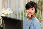 Attractive Multi-ethnic Young Woman Wearing Headset and Scrubs — Stock Photo