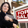 Stock Photo: Female Hispanic Real Estate Agent, For Sale Real Esate Sign and