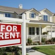 For Rent Real Estate Sign in Front of House — Foto de Stock